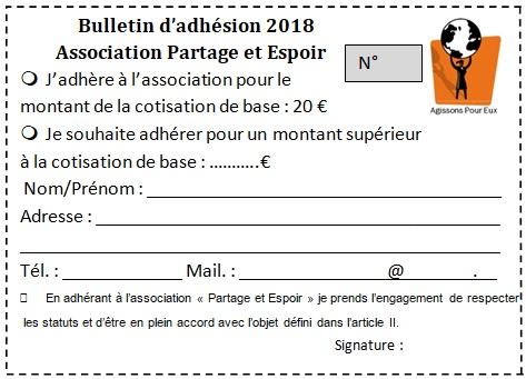 Bulletin adhesion 2018