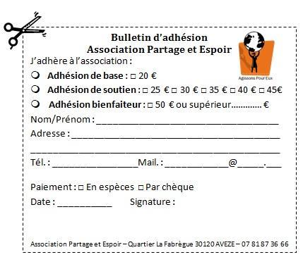 Bulletin adhesion a envoyer